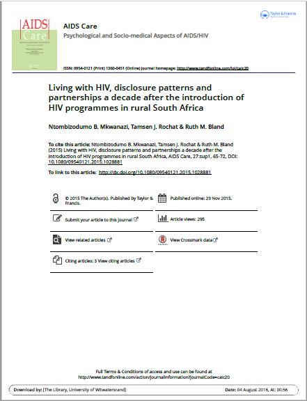 Living with HIV, disclosure patterns and partnerships a decade after the introduction of HIV programmes in rural South Africa