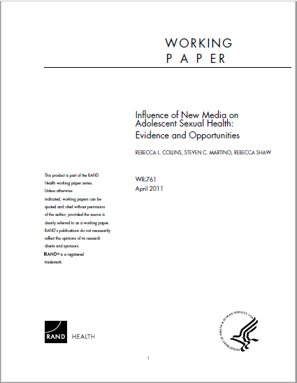 Influence of new media on adolescent sexual health:  evidence and opportunities