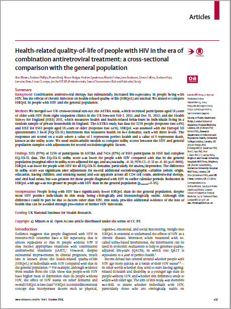 Health-related quality-of-life of people with HIV in the era of  combination antiretroviral treatment: a cross-sectional  comparison with the general population