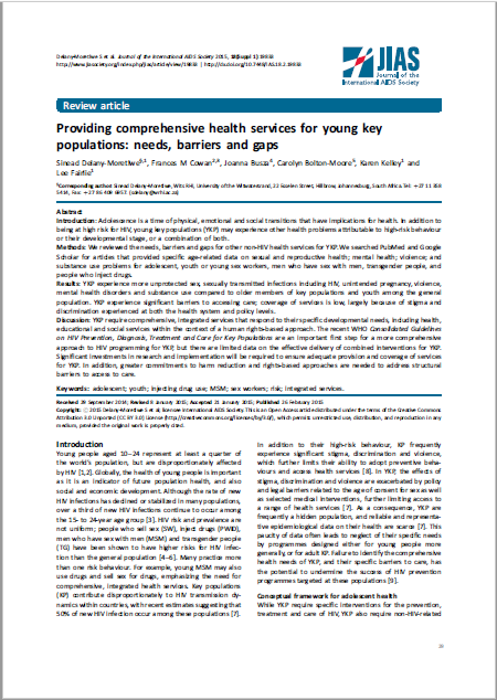 Providing comprehensive health services for young key populations: needs, barriers and gaps