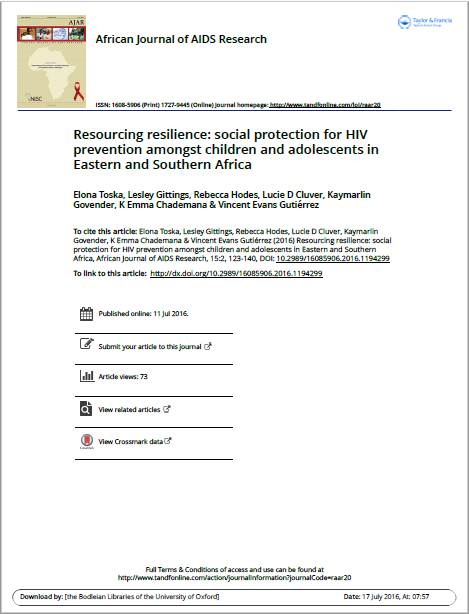 Resourcing resilience: social protection for HIV prevention amongst children and adolescents in Eastern and Southern Africa