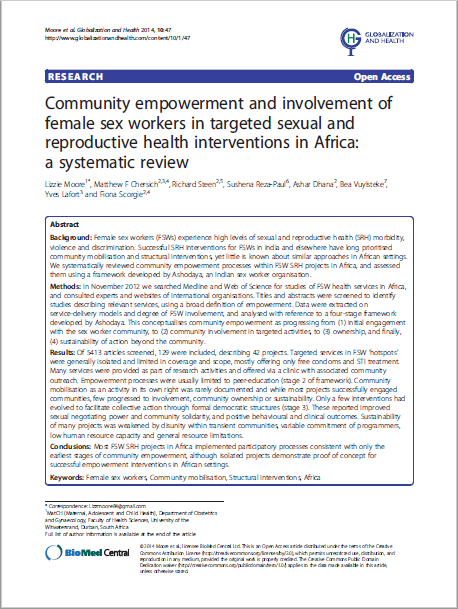 Community empowerment and involvement of female sex workers in targeted sexual and reproductive health interventions in Africa: a systematic review