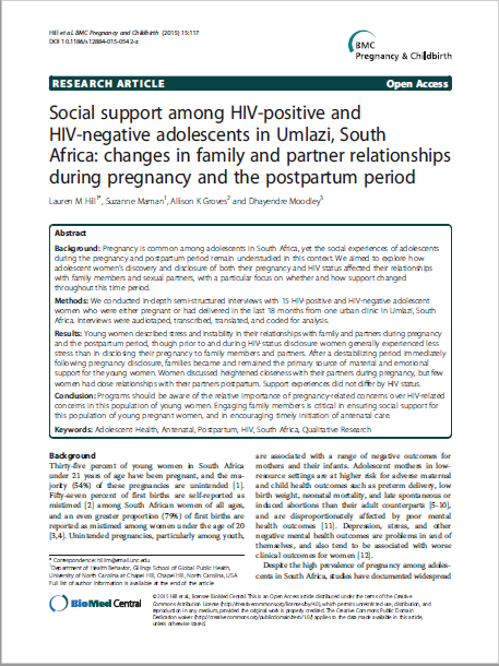 Social support among HIV-positive and HIV-negative adolescents in Umlazi, South Africa: changes in family and partner relationships during pregnancy and the postpartum period