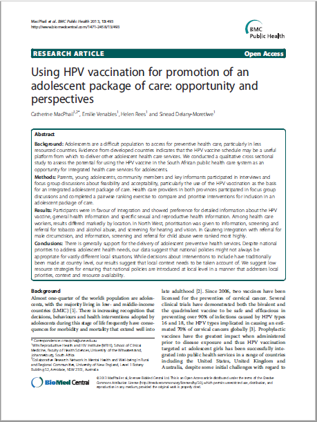 Using HPV vaccination for promotion of an adolescent package of care: opportunity and perspectives