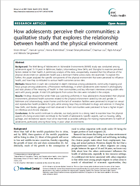 How adolescents perceive their communities: a qualitative study that explores the relationship between health and the physical environment