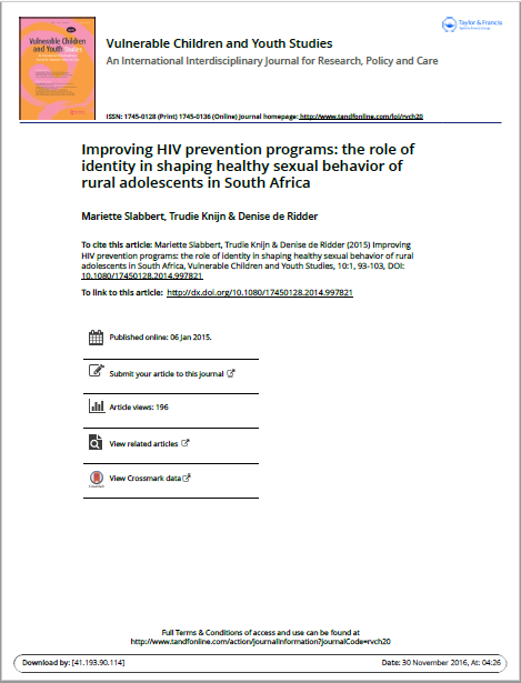 Improving HIV prevention programs: the role of identity in shaping healthy sexual behavior of rural adolescents in South Africa