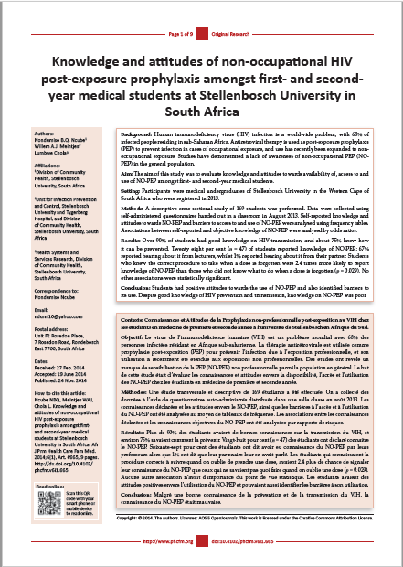 Knowledge and attitudes of non-occupational HIV post-exposure prophylaxis amongst first- and second-year medical students at Stellenbosch University in South Africa