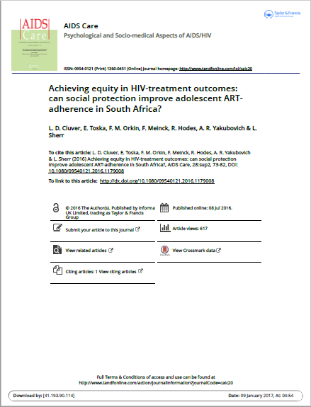 Achieving equity in HIV-treatment outcomes: can social protection improve adolescent ART- adherence in South Africa?