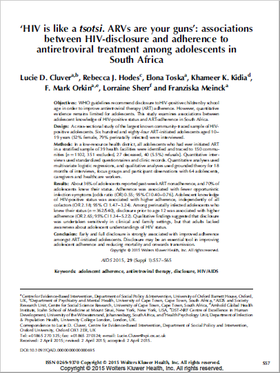 'HIV is like a tsotsi. ARVs are your guns': associations between HIV-disclosure and adherence to antiretroviral treatment among adolescents in South Africa