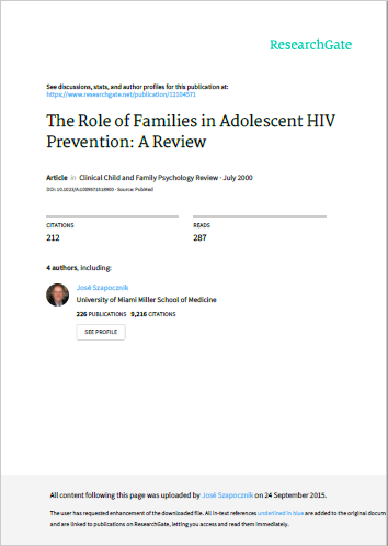 The Role of Families in Adolescent HIV Prevention: A Review