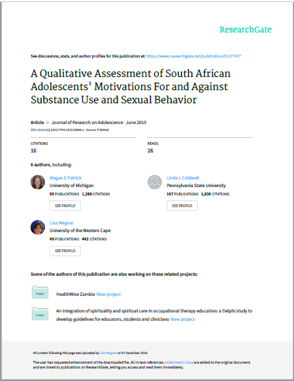 A Qualitative Assessment of South African Adolescents' Motivations For and Against Substance Use and Sexual Behavior