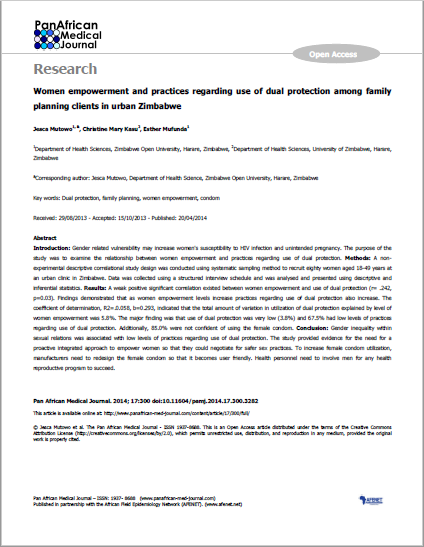 Women empowerment and practices regarding use of dual protection among family planning clients in urban Zimbabwe