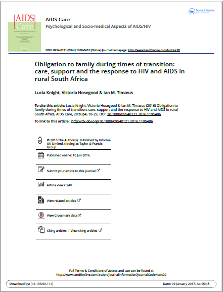 Obligation to family during times of transition: care, support and the response to HIV and AIDS in rural South Africa