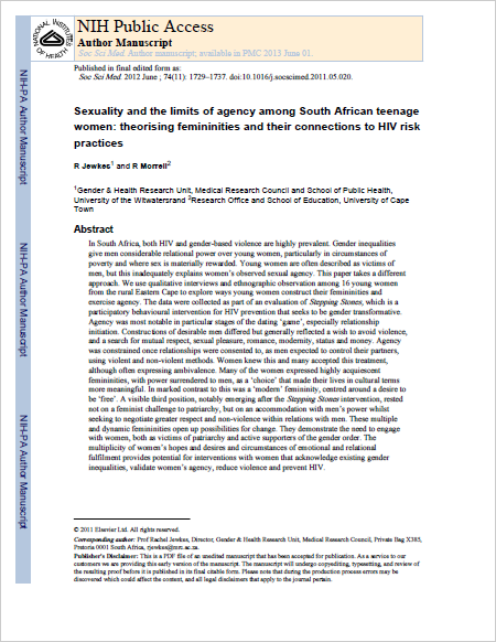 Sexuality and the limits of agency among South African teenage women: theorising femininities and their connections to HIV risk practices