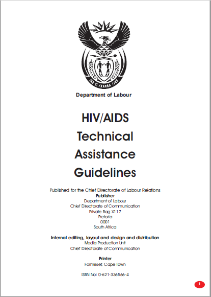 Department of Labour: HIV/AIDS Technical Assistance Guidelines