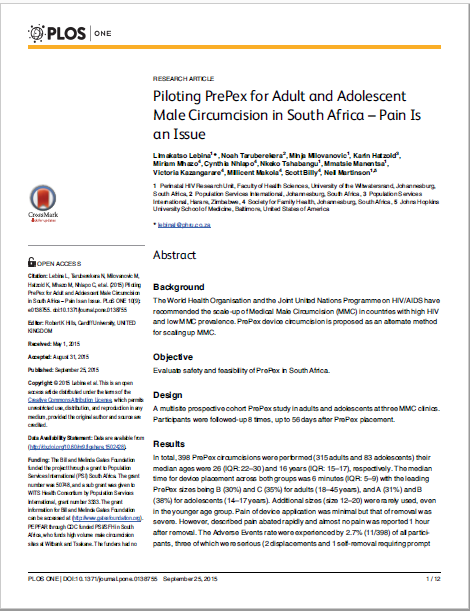 Piloting PrePex for Adult and Adolescent Male Circumcision in South Africa – Pain Is an Issue