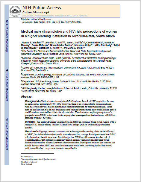 Medical male circumcision and HIV risk: perceptions of women in a higher learning institution in KwaZulu-Natal, South Africa