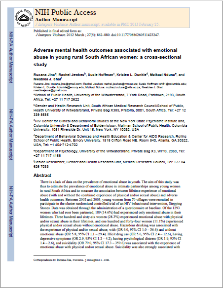 Adverse mental health outcomes associated with emotional abuse in young rural South African women: a cross-sectional study