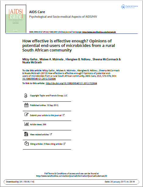 How effective is effective enough? Opinions of potential end-users of microbicides from a rural South African community