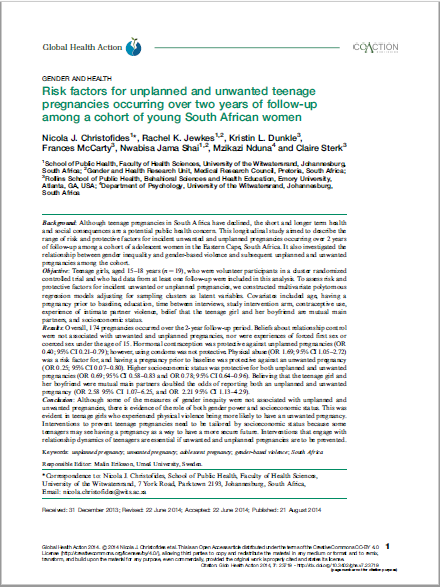 Risk factors for unplanned and unwanted teenage pregnancies occurring over two years of follow-up among a cohort of young South African women