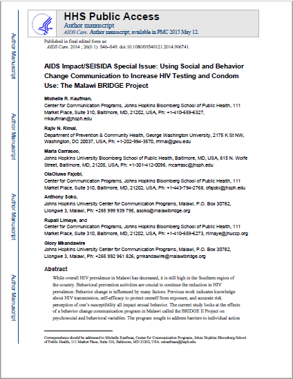 AIDS Impact/SEISIDA Special Issue: Using Social and Behavior  Change Communication to Increase HIV Testing and Condom  Use: The Malawi BRIDGE Project