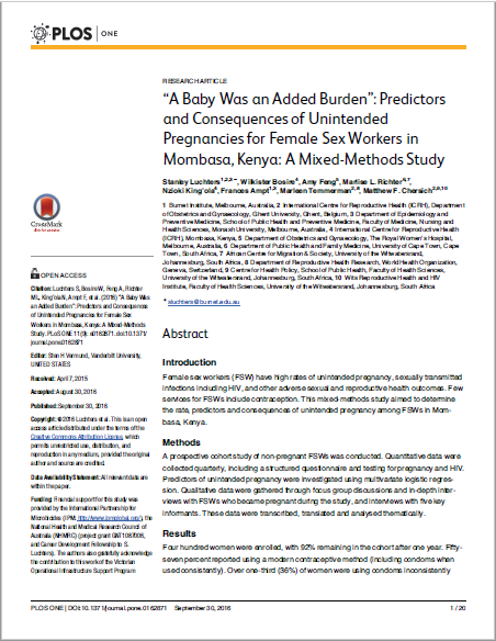 """A Baby Was an Added Burden"": Predictors and Consequences of Unintended Pregnancies for Female Sex Workers in Mombasa, Kenya: A Mixed-Methods Study"