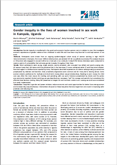 Gender inequity in the lives of women involved in sex work in Kampala, Uganda
