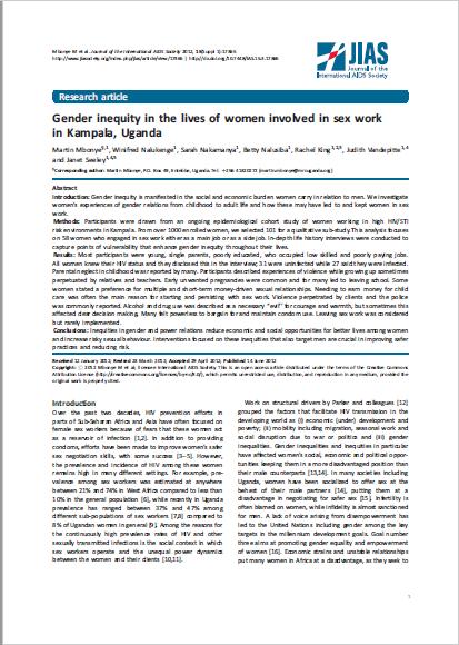 Gender inequity in the lives of women involved in sex work in Kampala, Uganda