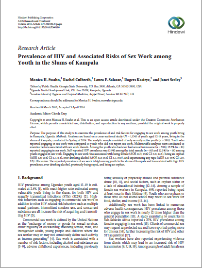 Prevalence of HIV and Associated Risks of Sex Work among Youth in the Slums of Kampala