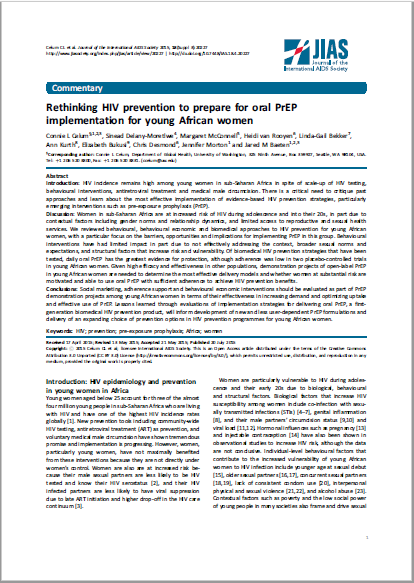 Rethinking HIV prevention to prepare for oral PrEP implementation for young African women