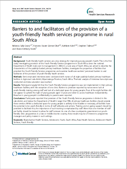 Barriers to and facilitators of the provision of a youth-friendly health services programme in rural South Africa