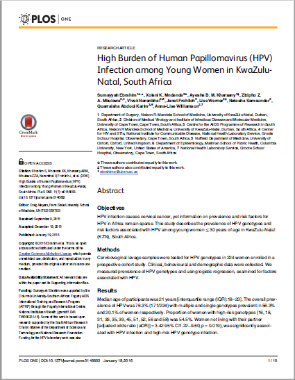 High Burden of Human Papillomavirus (HPV) Infection among Young Women in KwaZulu- Natal, South Africa