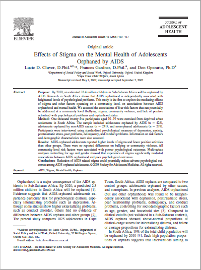 Effects of Stigma on the Mental Health of Adolescents Orphaned by AIDS