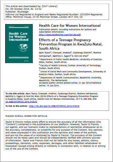 Effects of a Teenage Pregnancy Prevention Program in KwaZulu-Natal, South Africa