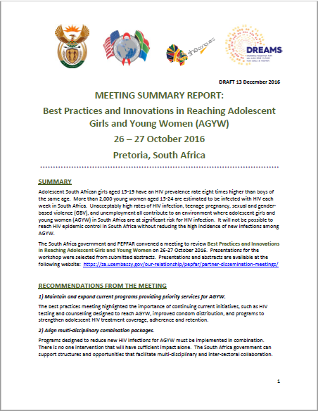 Best Practices and Innovations in Reaching Adolescent Girls and Young Women (AGYW)