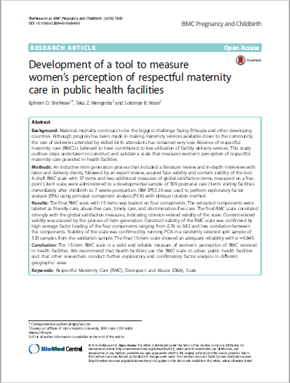 Development of a tool to measure women's perception of respectful maternity care in public health facilities