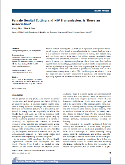 Female Genital Cutting and HIV Transmission: Is There an Association?