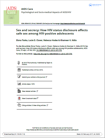 Sex and secrecy: How HIV-status disclosure affects safe sex among HIV-positive adolescents
