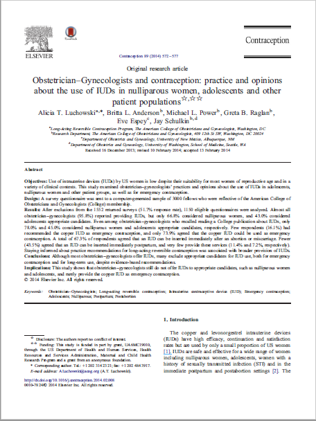 Obstetrician–Gynecologists and contraception: practice and opinions about the use of IUDs in nulliparous women, adolescents and other patient populations