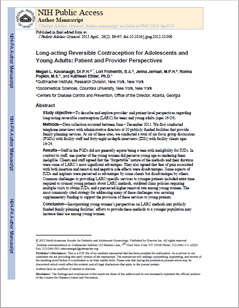 Long-acting Reversible Contraception for Adolescents and Young Adults: Patient and Provider Perspectives