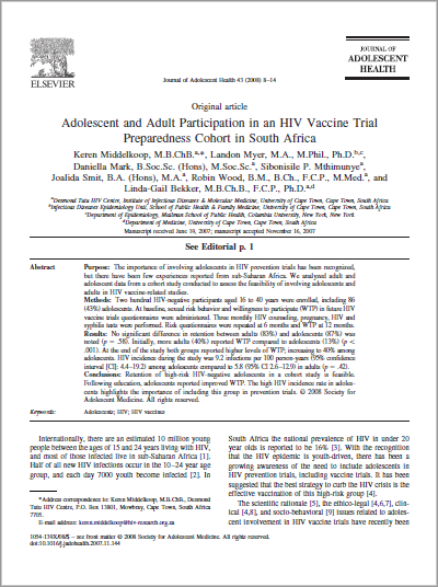 Adolescent and Adult Participation in an HIV Vaccine Trial Preparedness Cohort in South Africa