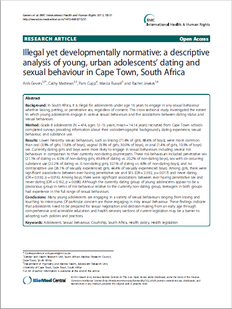 Illegal yet developmentally normative: a descriptive analysis of young, urban adolescents' dating and sexual behaviour in Cape Town, South Africa