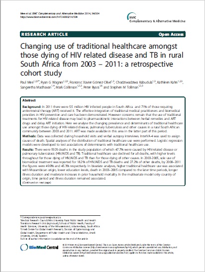 Changing use of traditional healthcare amongst those dying of HIV related disease and TB in rural South Africa from 2003 – 2011: a retrospective cohort study