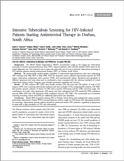 Intensive Tuberculosis Screening for HIV-Infected Patients Starting Antiretroviral Therapy in Durban, South Africa