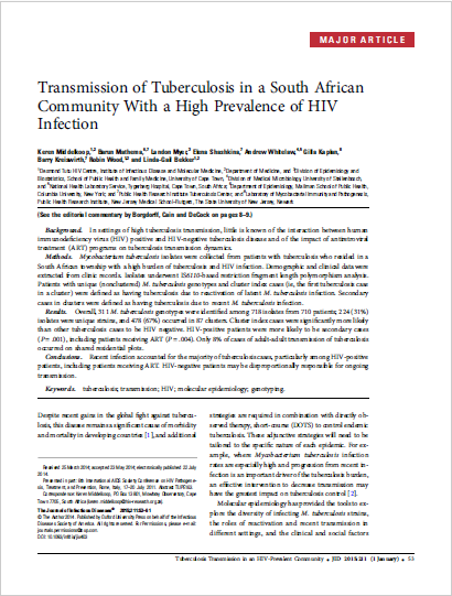 Transmission of Tuberculosis in a South African Community With a High Prevalence of HIV Infection