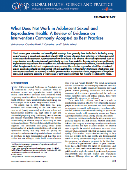 What Does Not Work in Adolescent Sexual and Reproductive Health: A Review of Evidence on Interventions Commonly Accepted as Best Practices