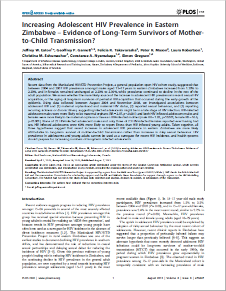 Increasing Adolescent HIV Prevalence in Eastern Zimbabwe – Evidence of Long-Term Survivors of Mother- to-Child Transmission?