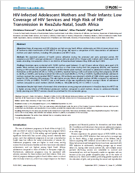 HIV-Infected Adolescent Mothers and Their Infants: Low Coverage of HIV Services and High Risk of HIV Transmission in KwaZulu-Natal, South Africa