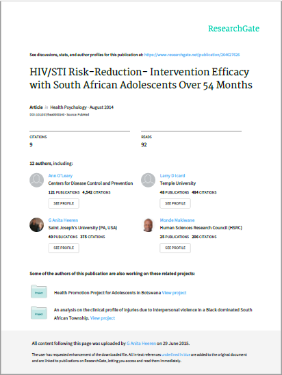 HIV/STI Risk-Reduction- Intervention Efficacy with South African Adolescents Over 54 Months