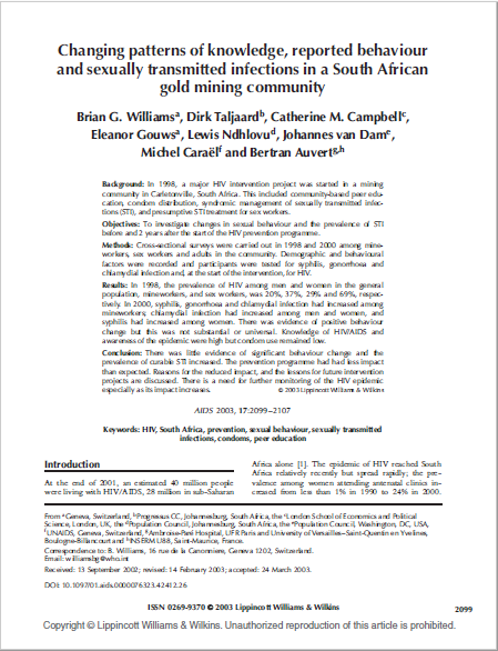 Changing patterns of knowledge, reported behaviour and sexually transmitted infections in a South African gold mining community